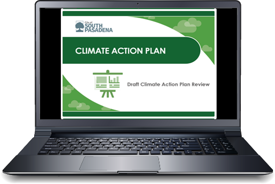 laptop with the south pasadena climate action plan presentation on the screen